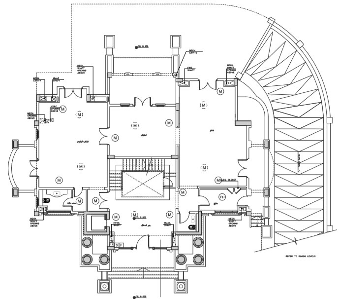 Building ground floor plan with fire alarm system detail.