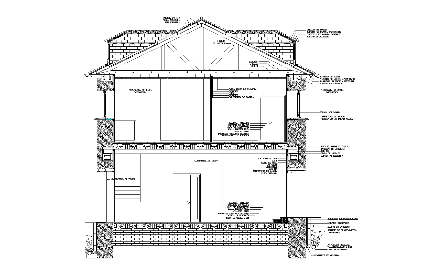 Building section plan detail dwg file.