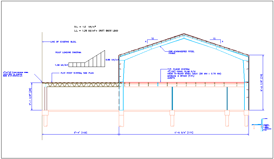 Building section view with construction detail view dwg file