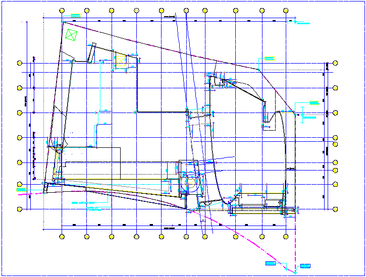 Building setting out plan with dimension dwg file