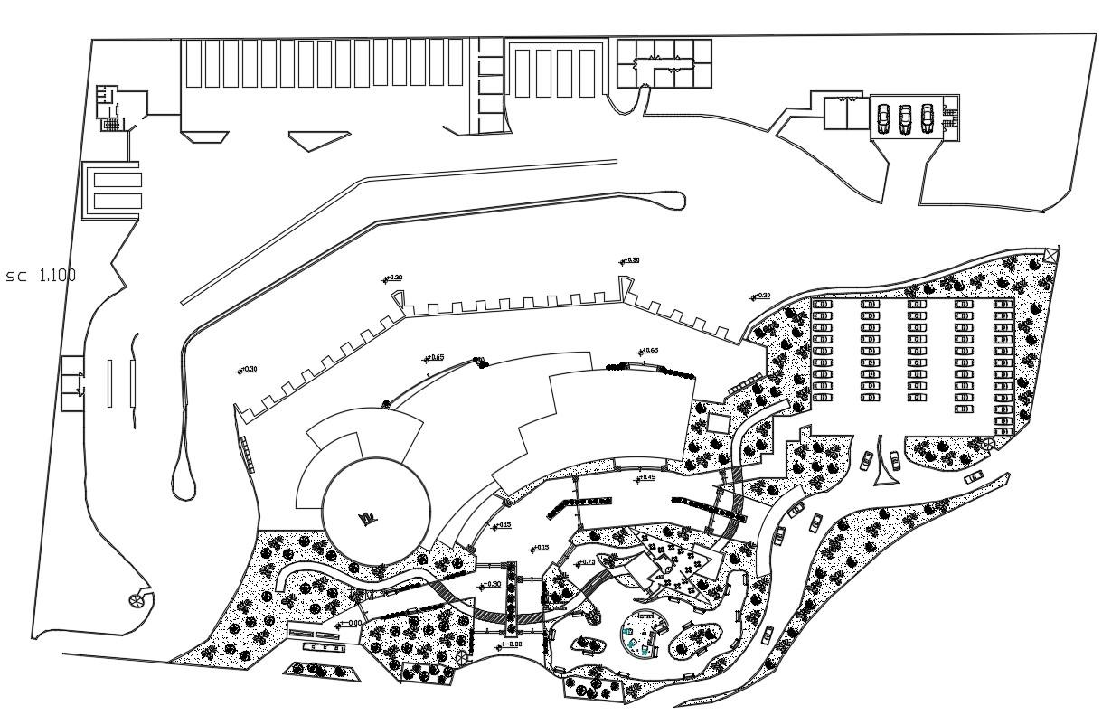 Building site plan design in autocad