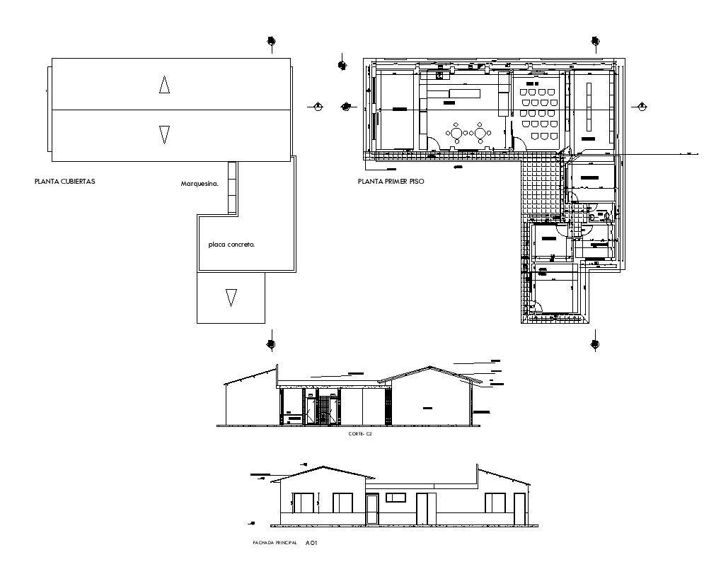 Building structure detail plan, elevation and section 2d view layout file