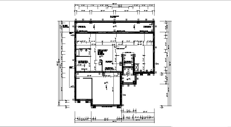 Bungalow 58' x 62' with detail dimension in dwg file
