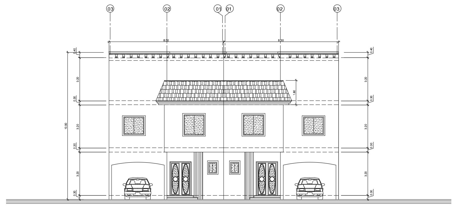 Bungalow Elevation AutoCAD Architecture Drawing