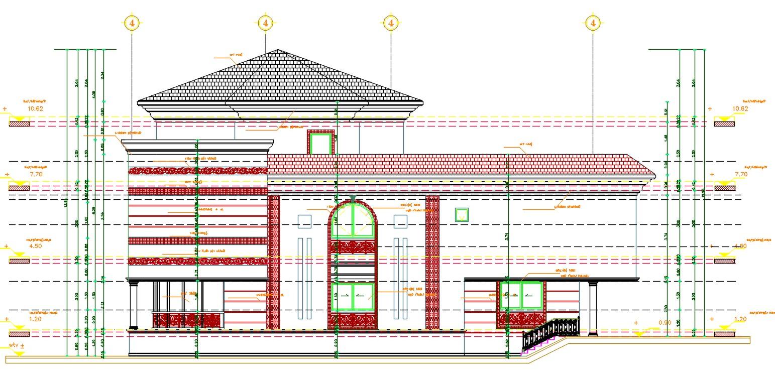 Bungalow Elevation Design AutoCAD File