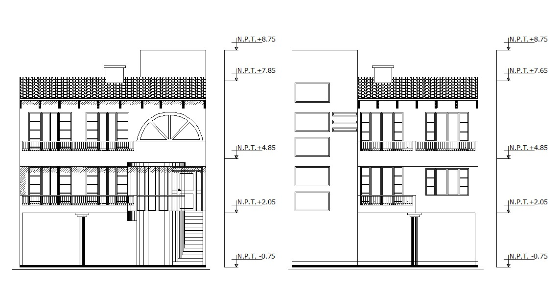 Bungalow Facade Architecture Design file Free download
