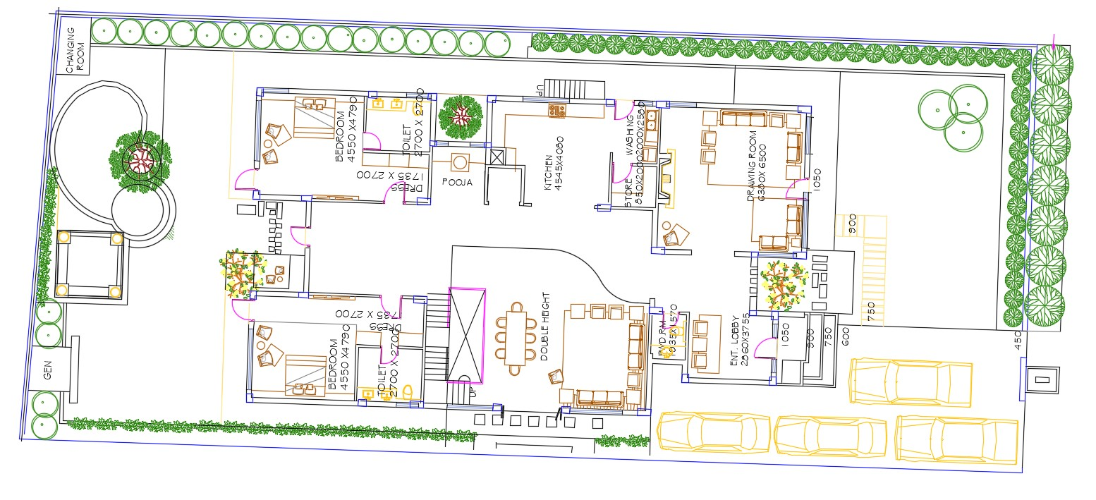 Bungalow Ground Floor plan AutoCAD drawing