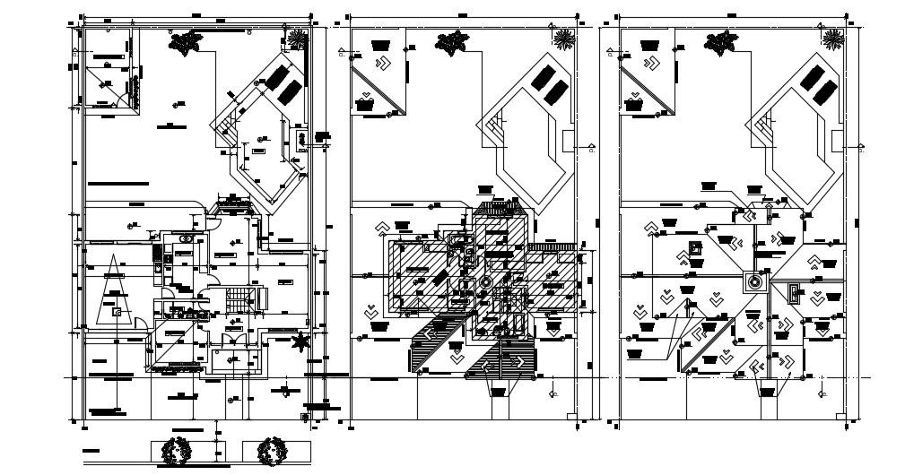 Bungalow House Design With Floor Plan AutoCAD File