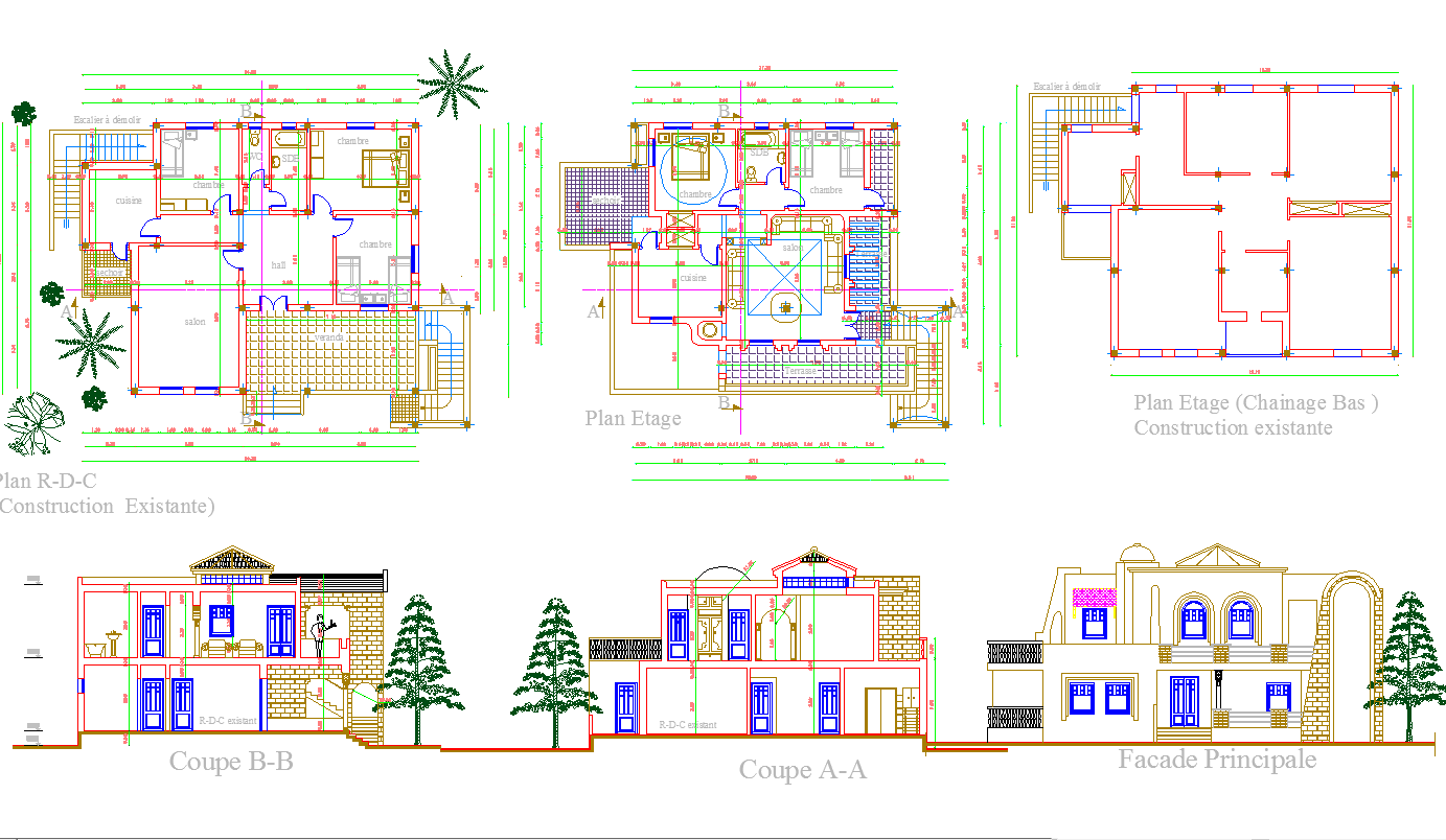 Bungalow Layout plan and elevation design