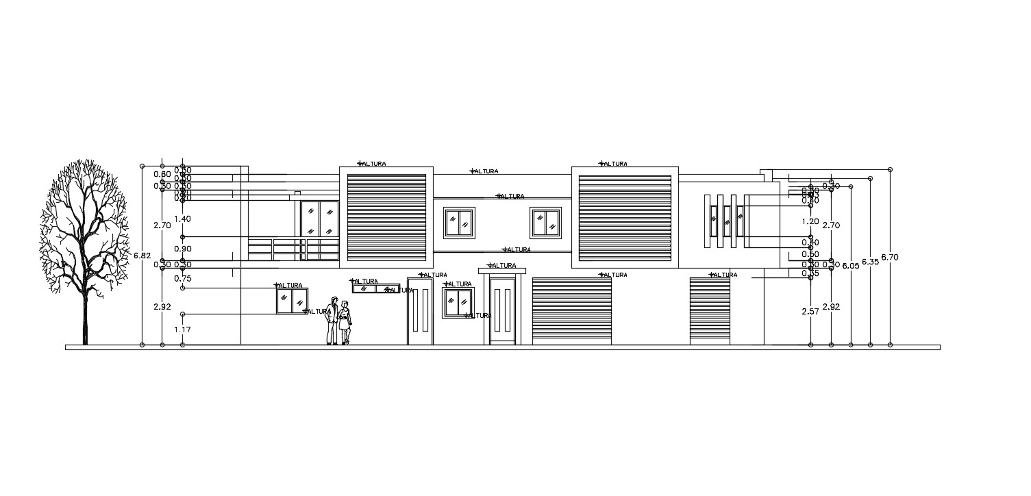 Bungalow Modern Elevation with LVL AutoCAD File Free