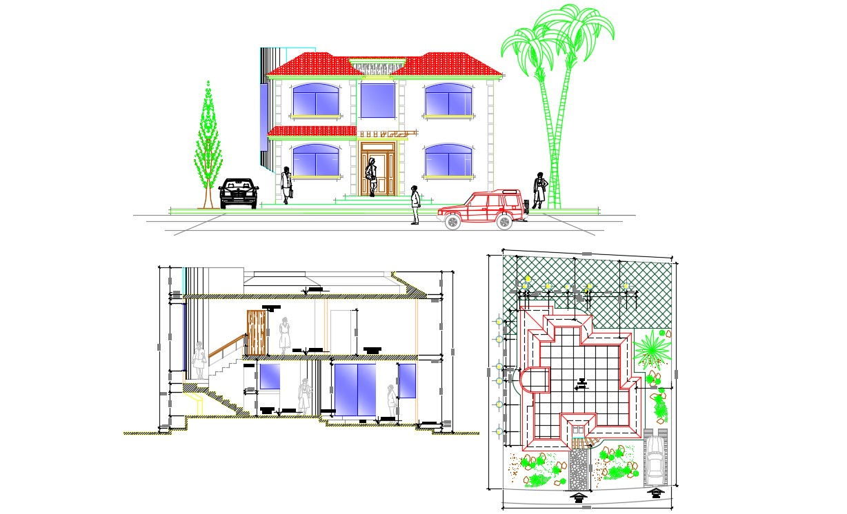 Bungalow Plan  Elevation Section With Basic Rendered AutoCAD File Free