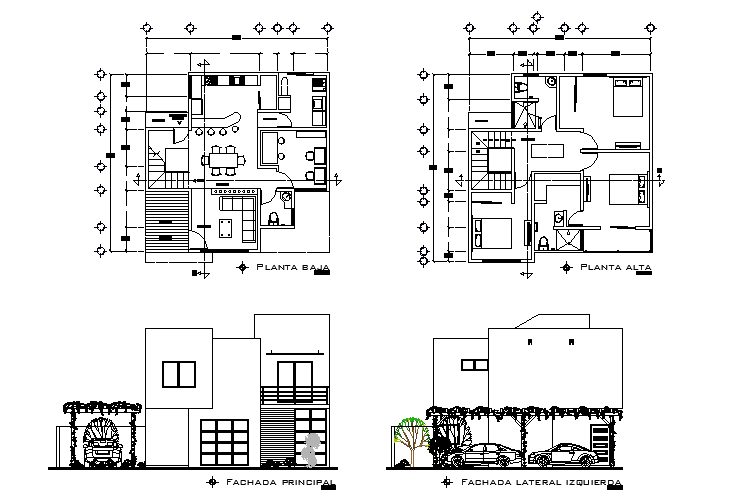 Bungalow elevation and top view layout plan