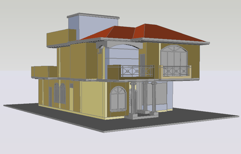 Bungalow house residential 3d view dwg file