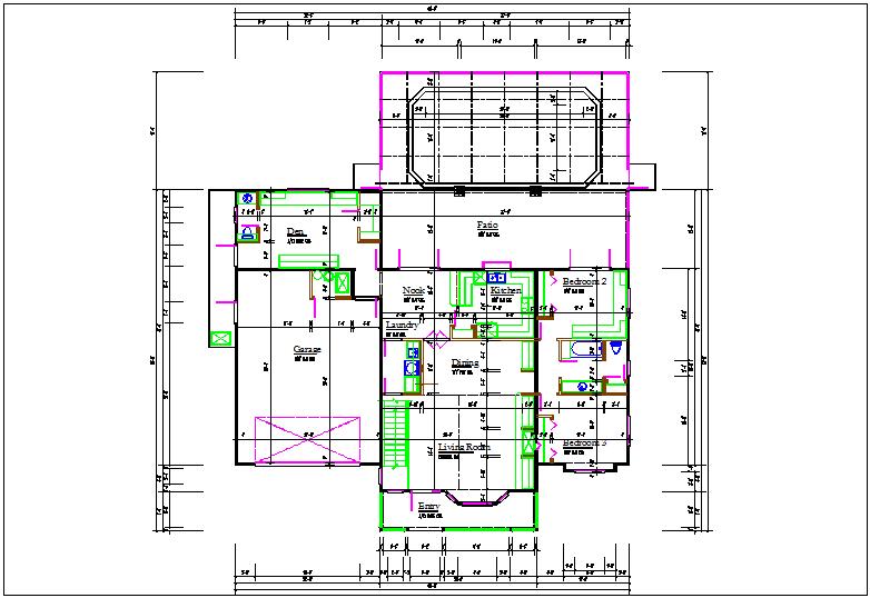 Bungalow plan center line details dwg files