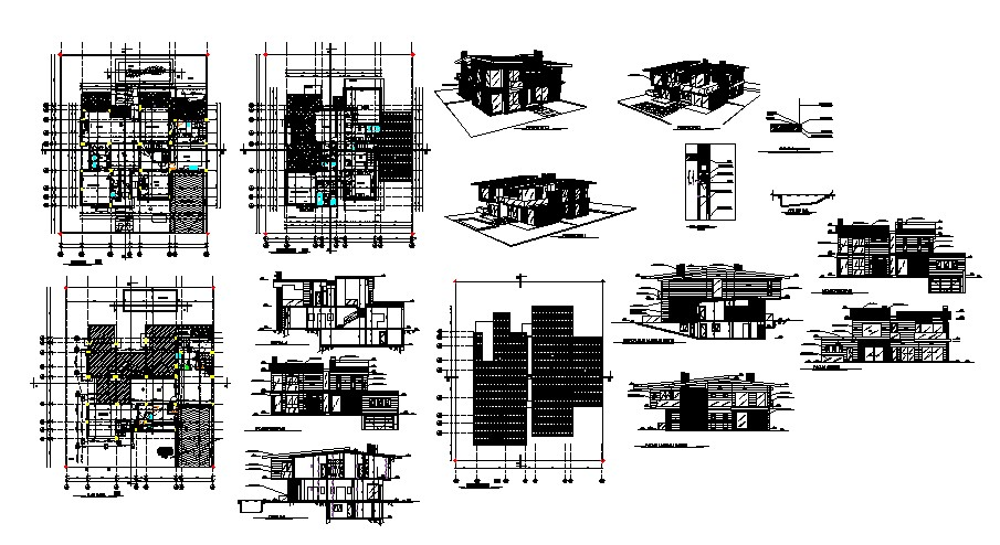 Small House Floor Plans In DWG File