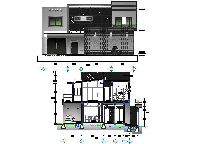 Bungalow sectional elevation detail