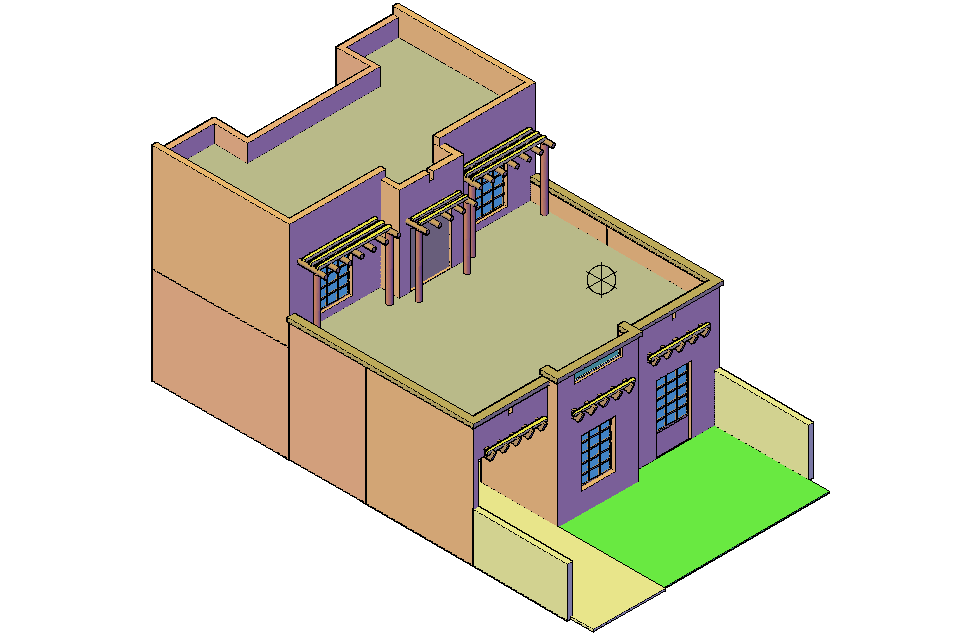 Bungalows 3d view dwg file