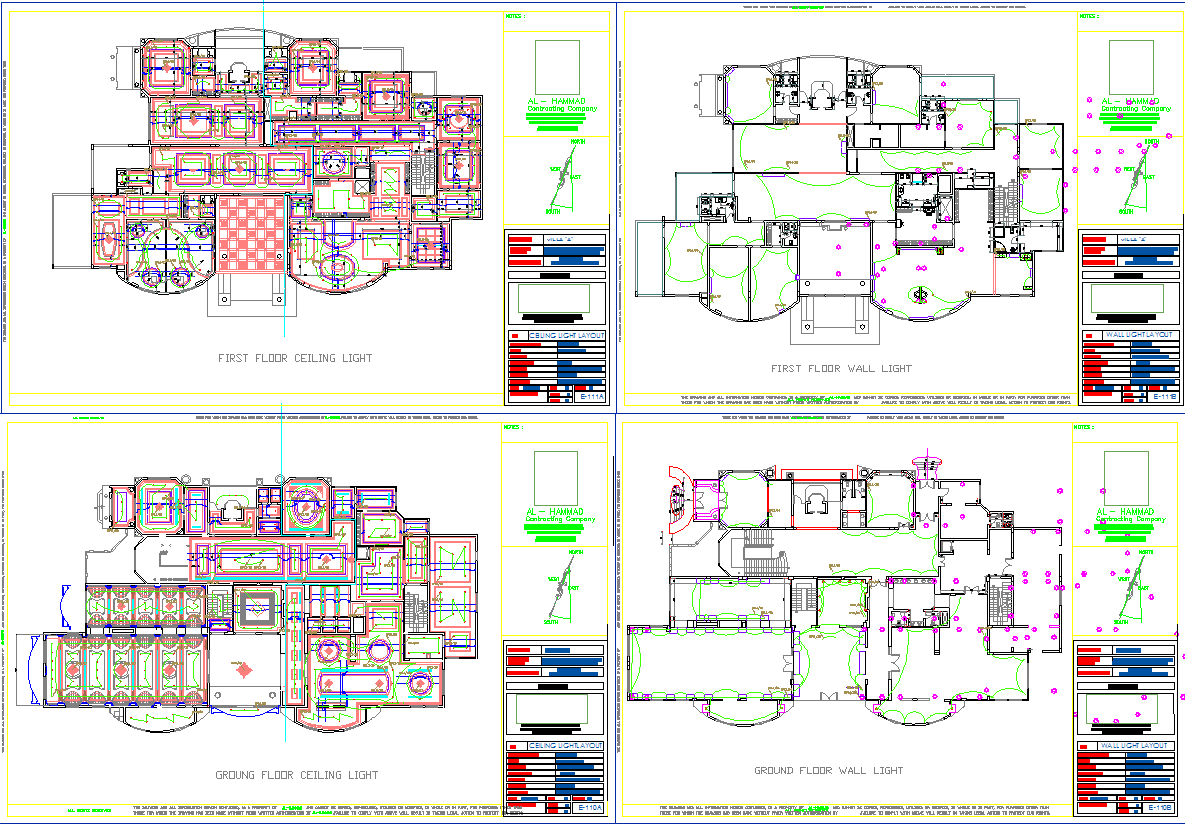 Bungalows ceiling design and electrical layout in cad