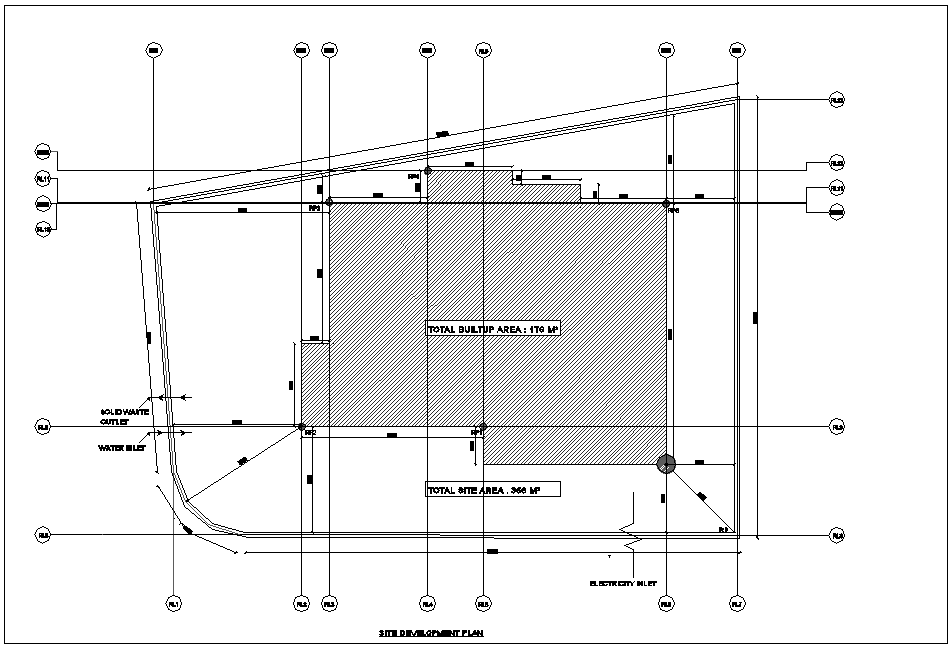 Bungalows site development plan with architectural view dwg file