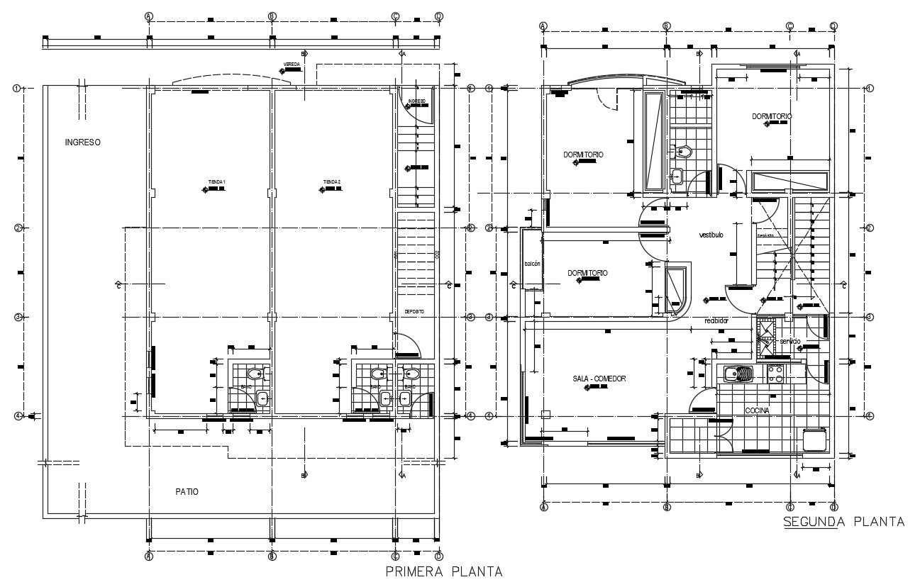 CAD architectural plan of two story residential building dwg file