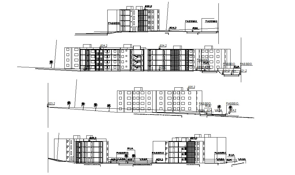 CAD drawing of Apartment Elevation and Section - Cadbull
