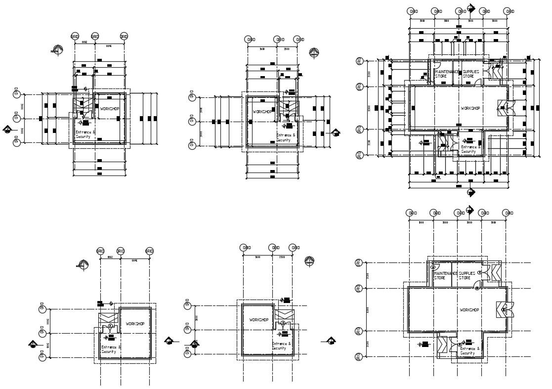 CAD layout 2d drawings of workshop room dwg file