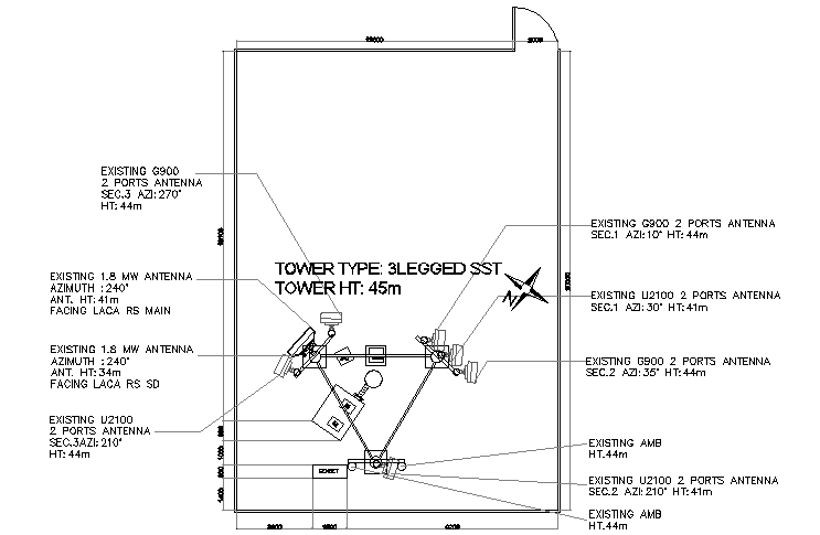 Cabin of tower electric installation details dwg file