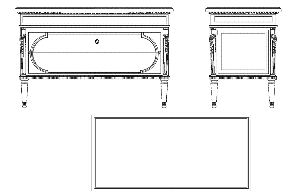 Cabinet view with table shape area with furniture view dwg file