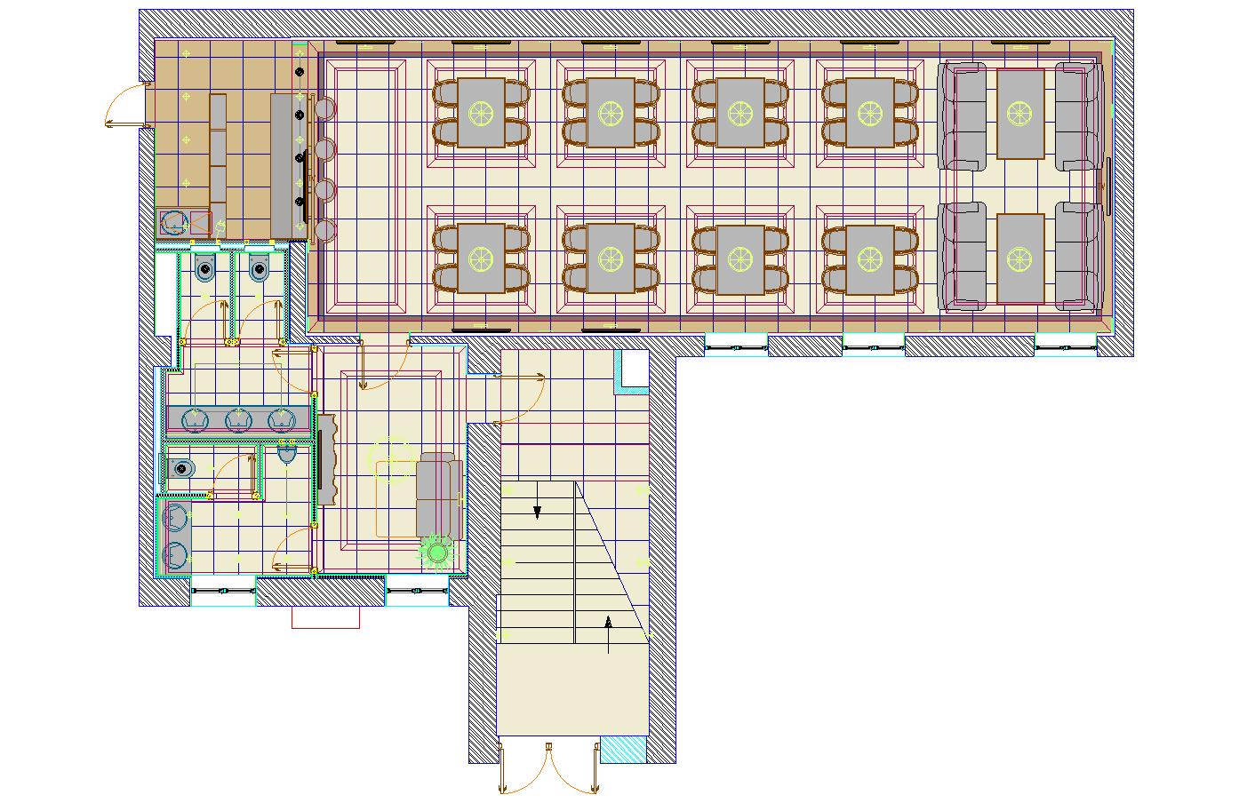 Cafe plan detail dwg file.
