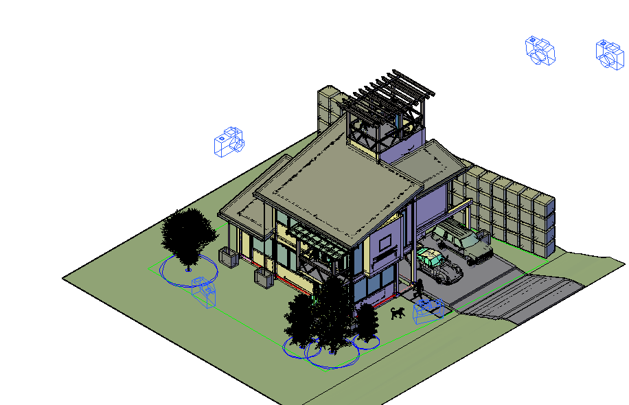 Camera preview with its position for 3d view of housing dwg file