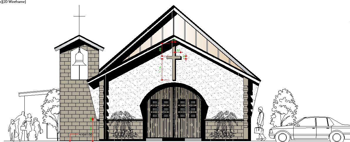 Catholic Center Architecture Design and Elevation dwg file