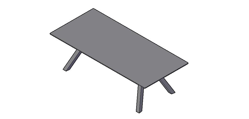 Center Table 3D Model In DWG File