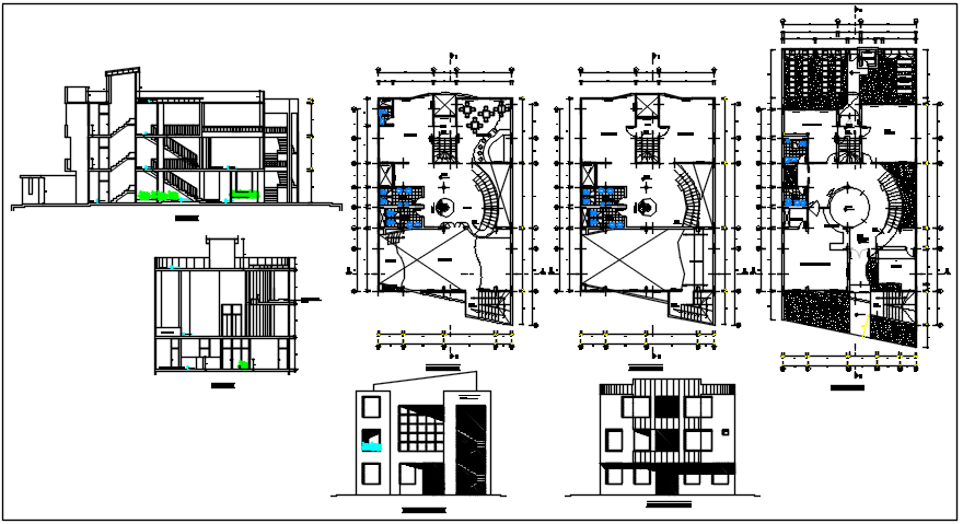 Center line plan detail and elevation detail plan of dwg file