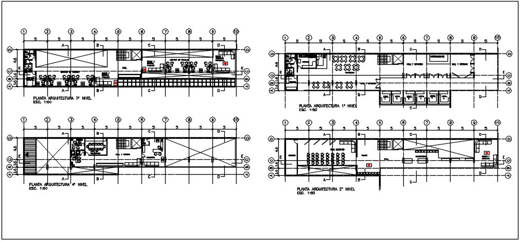Center line plan in commercial plan and elevation plan detail dwg file