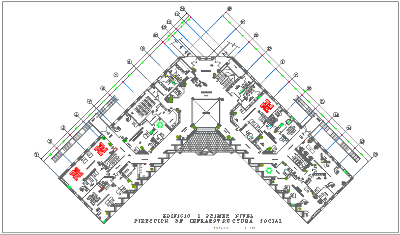 Center line plan in commercial plan detail dwg file