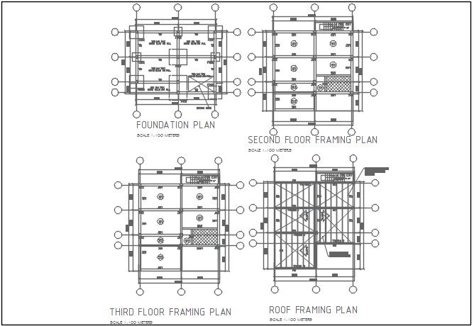 Centre line plan detail in foundation plan detail dwg file