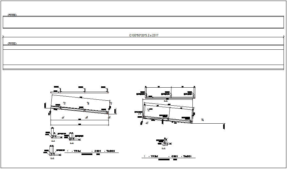 Chanel,column and beam trim view detail for structural design dwg file