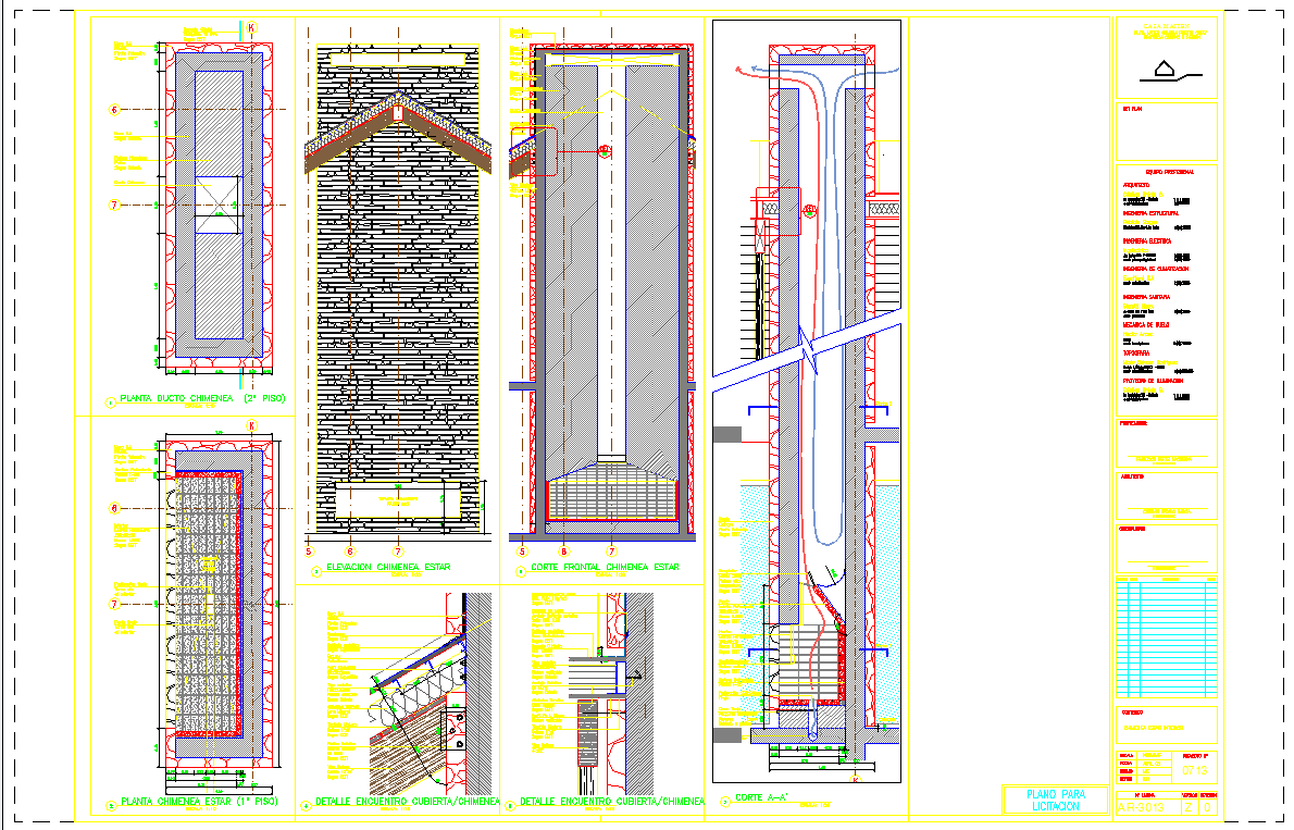 Chimney sections and working systems detail drawing