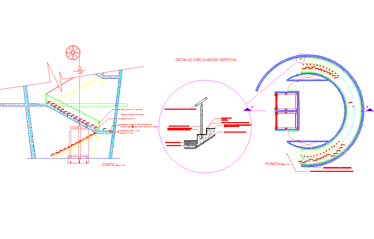Circular staircase plan and sections dwg