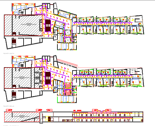 City auditorium hall main elevation and floor plan dwg file