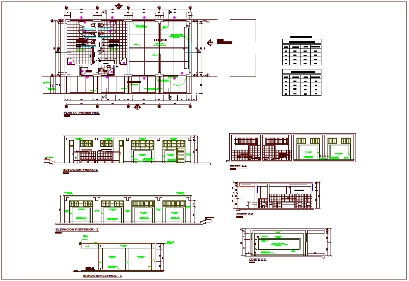 Class room plan for school with sectional and elevation view and door and view with schedule dwg file