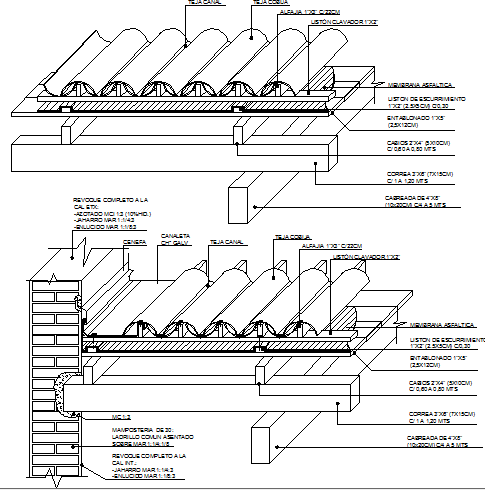 Clay tile details with roof construction details dwg file