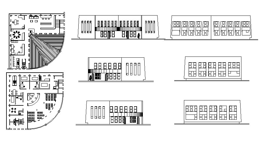 Clinic plan in autocad with elevations