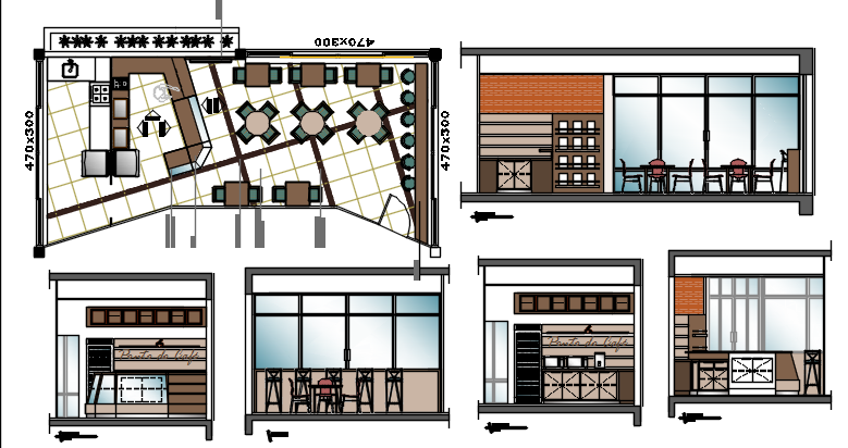 Coffee bar project dwg file