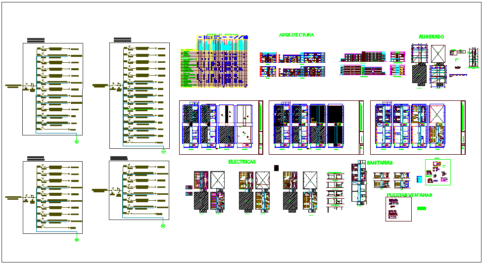 Collage plan view with electrical,sanitary,door and window and column view dwg file