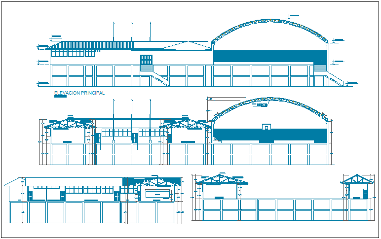 College front, back and side elevations details dwg file