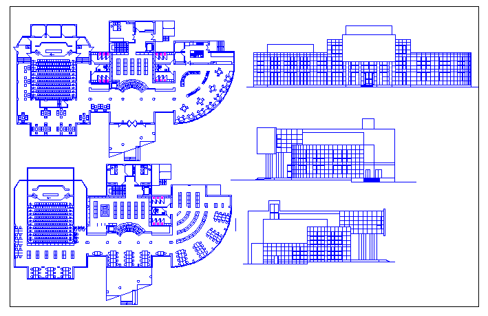College library architecture project dwg file