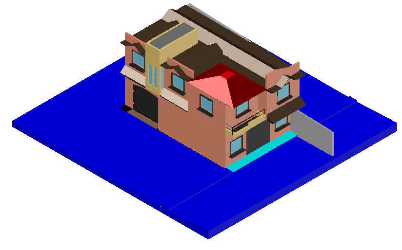 Colonial house 3d design dwg file