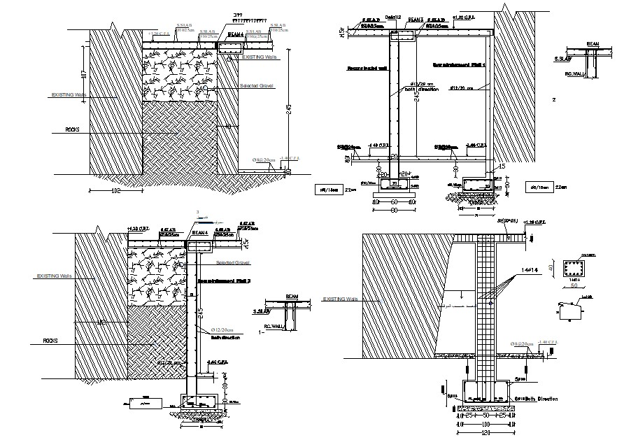 Column And Wall Construction Drawing