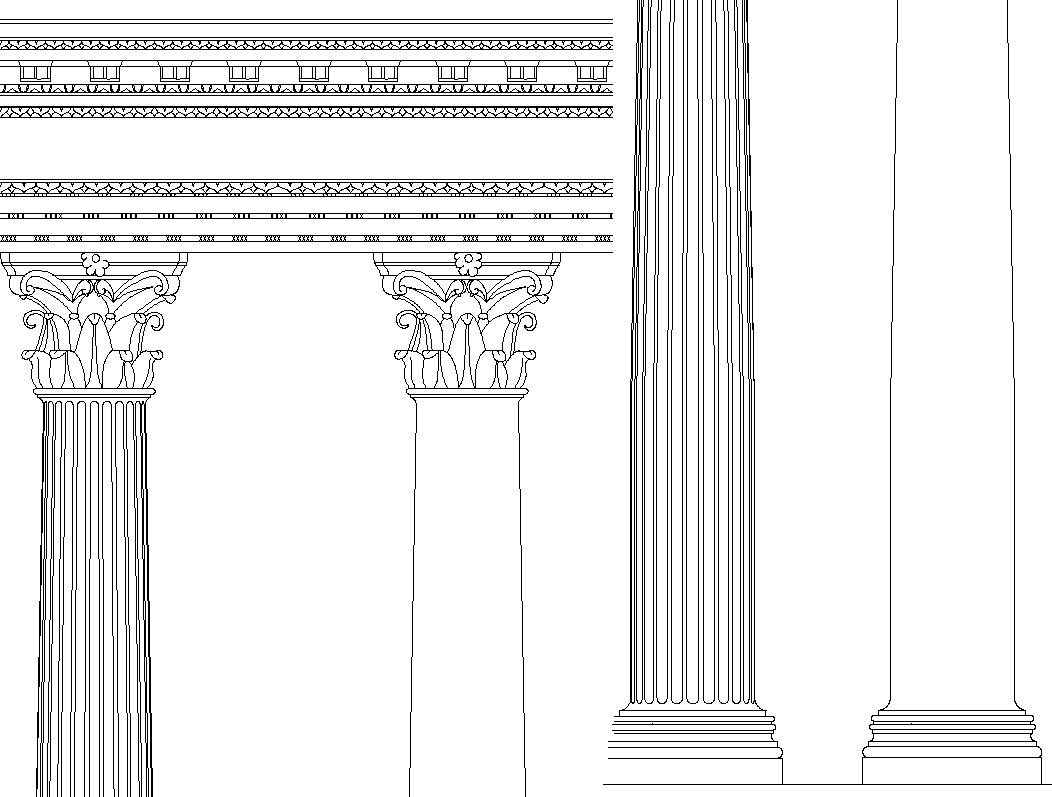 Column Capital with detailing dwg file